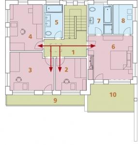 Půdorys patra: 1) hala 2) pracovna 3, 4) dětský pokoj 5) koupelna + WC 6) ložnice rodičů 7) koupelna + WC 8) šatna 9, 10) balkon.