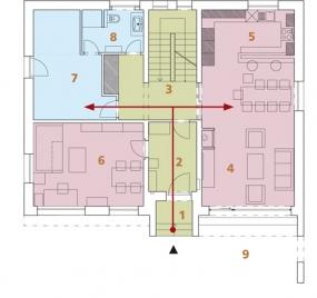 Půdorys přízemí: 1) závětří 2) předsíň 3) hala 4) obývací pokoj 5) kuchyň + jídelna 6) pracovna 7) relaxace 8) koupelna + WC 9) terasa.