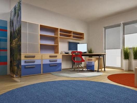 Zóna pracovní je vymezena oknem aochranným paravánem. Skříňová sestava obsahuje velké zásuvky, uzavřené aotevřené police ahodí se jak na hračky, tak na knihy aučební pomůcky. Pracovní stůl svýškově nastavitelnou deskou doplňuje kontejner na kolečkách.