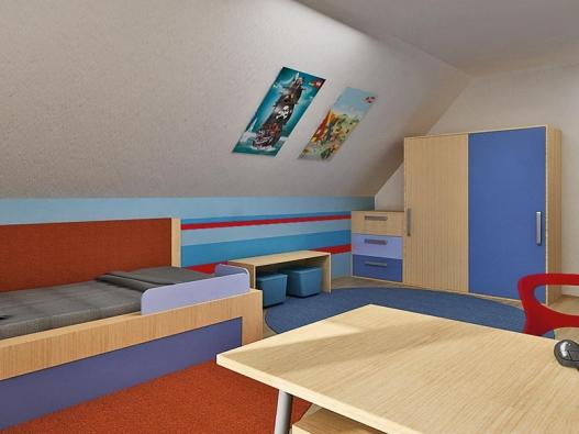Řešení úložného prostoru se přizpůsobuje pozici pod šikmým stropem. Místnost oživují vodorovné barevné pruhy na boční stěně.