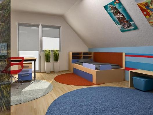 Návrh – pohled na zónu spaní ahraní. Postel je vybavena opěrkami, které zabraňují posunutí matrace, aspodním výsuvem spřídavnou matrací pro návštěvy.