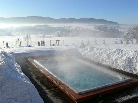 Plavání je šetrný způsob udržování kondice. Protiproud dělá ze Swim Spa nekonečný bazén, který lze navíc využívat po celý rok. Cena Swim Spa Classic je vplné výbavě včetně dopravy, instalace, zprovoznění aDPH 512850Kč.