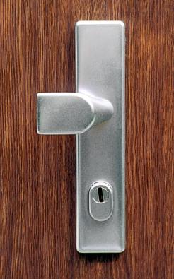 """Jedním zmnoha """"nejdůležitějších"""" bezpečnostních prvků dveří je štítek chránící zámkovou vložku (NEXT)."""