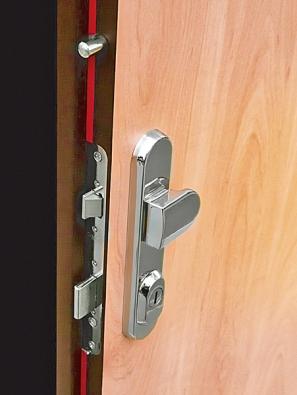 Mechanizmus zámkové části, panty adalší prvky zlodějům zakrývá nenápadný povrch dveří (SAPELI).