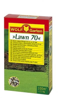 Loretta je vysoce kvalitní trávníkové osivo pro všechny typy použití. Trávník je extrémně zatížitelný, rychle se regeneruje aroste na všech druzích půd.  Balení LJ 100 – 2kg pro 100 m2. Cena 979Kč. Trávníkové hnojivo sdlouhodobým účinkem Lawn 70 zásobuje trávník všemi důležitými živinami po dobu až 70 dnů. Aplikuje se od dubna třikrát během vegetace (červen azáří).  Balení LX-MU 100 – 2,5kg pro 100 m2. Cena 489Kč (WOLF-Garten).