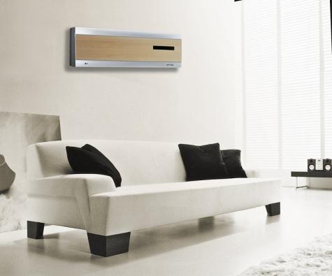 Klimatizační jednotka Artcool ve formě rámu, nejtenčí na světě, efektivní využití investorové technologie, která automaticky řídí chlazení nebo vytápění trojrozměrným prouděním vzduchu, díky tomu je klimatizace úsporná, přitom velmi výkonná, cena od 15000Kč (LG ELECTRONICS).