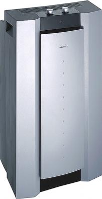 Mobilní klimatizace PA 19000M (Siemens), chladicí výkon  1900 W, energetická třída D,  3 funkce chlazení, hlučnost  55−58 dB, cena 17490Kč (BSH − DOMÁCÍ SPOTŘEBIČE).