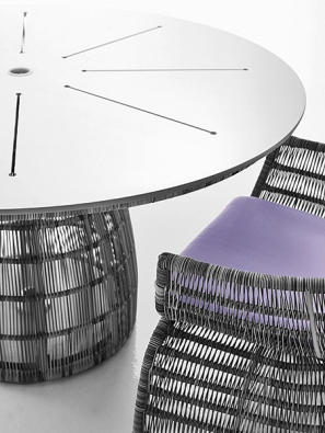 Nový kruhový stůl Crinoline (design Patricia Urquiola) příznačně doplňuje zbytek kolekce. Stejně jako ukřesel vynikají ladné linie astruktura výpletu zpolyetylénového vlákna. Základnu tvoří dvě spojené části, podpírající desku vbarevné kombinaci černá/bílá nebo černá/ /bronzová. Stolní deska ozvláštněná paprsčitým vzorem se vyrábí také zbílého skla nebo zlaminátu HPL. Vnabídce jsou rovněž modely sotvorem na slunečník (B & B ITALIA, Itálie, prodává KONSEPTI).