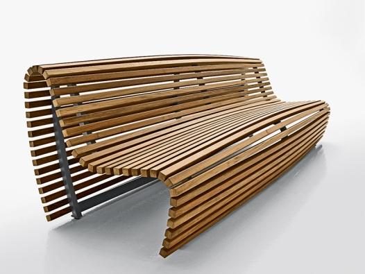Lavice Titikata (design Naoto Fukasawa), kterou tvoří hliníkový rám alatě zteakového dřeva, osloví ladnými tvary. Ve skutečnosti vytvářejí křivky končící až uzemě ergonomicky tvarované sezení (B & B ITALIA, Itálie, prodává KONSEPTI).