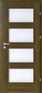 Nadstandardní zpracování dřeva doplňují kvalitní skleněné výplně zkaleného matného skla, což dveřím dodává moderní vzhled (PORTA DOORS).