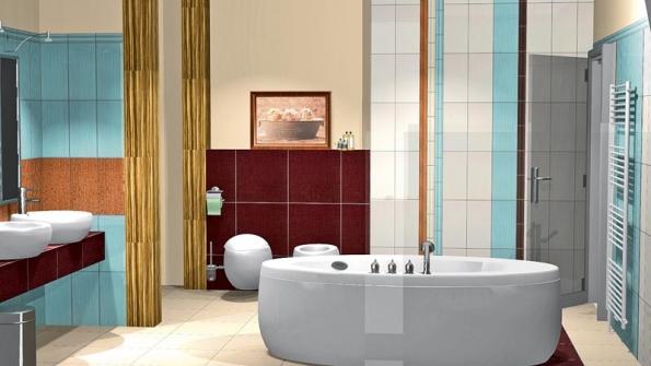 Celoplošný dekor vpodobě korálků vzákladních barvách obkladu napodobuje korálkový závěs adává koupelně romantický nádech.