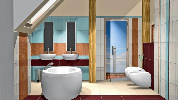 Koupelna je obložena obkladem ze série Paris, formát 19,8 x 39,8cm.