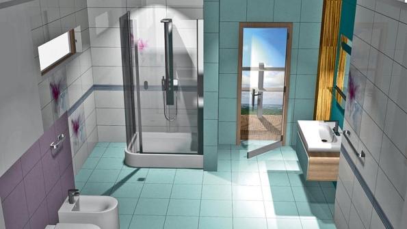 Dlažba Frostika (formát 40 x 40cm) přechází zpodlahy na stěny. Dekor doplňuje listela sodpovídající kombinací barev.