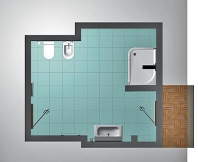 Půdorys ll. varianty koupelny