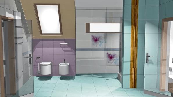 Základní obklad stěn tvoří série Combi (bílá barva, formát 29,8 x 59,8cm).