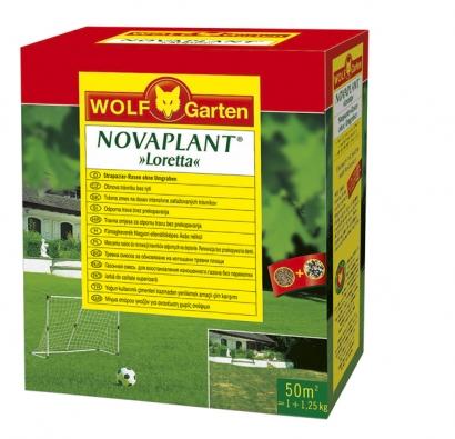 Ideální set pro obnovu trávníku: krabice obsahuje startovací hnojivo atravní směs Loretta. Jedná se ovynikající univerzální osivo, které funguje vkaždé půdě. NOVAPLANT Loretta, cena 756Kč za balení pro 50 m² (WOLF-GARTEN).