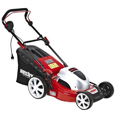 Elektrická sekačka HECHT 1801 bez pojezdu, kovové šasi, kola skuličkovými ložisky. Příkon motoru 1800 W, záběr 46cm,  koš 60l. Centrální nastavení výšky sekání 3 až 9cm,  nastavitelná rukojeť. Cena 4990Kč (WERCO).