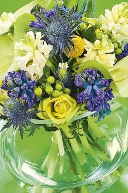 Dříve zapovězená kombinace svěží zelené amodré barvy působí zajímavě. Kromě hyacintů byly použity růže, anturium, máčky, žluté kraspédie aplody třezalky.