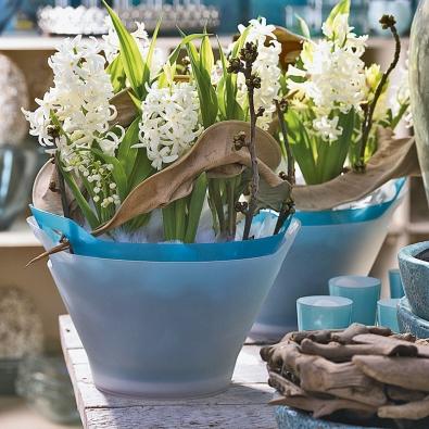 Bílé hyacinty doplňují konvalinky avětvičky rodu Prunus. Dekorativním prvkem je suchý list strelície abílé peří, připomínající poslední zbytky tajícího sněhu. Aranžmá evokuje přírodu, která se po dlouhé zimě probouzí kživotu.