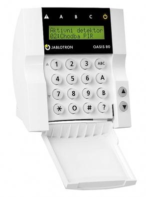 Bezdrátová klávesnice  JA-80 je určena kovládání aprogramování systému EZS (JABLOTRON).