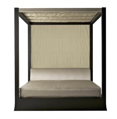 Postel Osaka (Armani Casa), design Giorgio Armani, více variací provedení vdubu ivíce rozměrů, matrace  180 x 200cm, cena 378000Kč  (STOPKA).