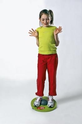 MTF Fun Disc pro děti azačátečníky lze používat zobou stran. Když disk obrátíte, je cvičení náročnější aumožňuje částečnou rotaci.