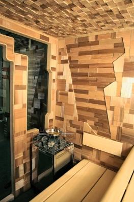 Nápaditě provedený interiér domácí sauny (SAUNY SALUS).