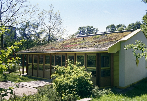 Mezi hlavní klady zelené střechy patří schopnost zadržovat dešťovou vodu aodpařit ji do okolí, čímž se významně zlepšuje mikroklima.