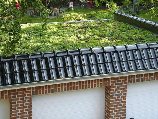 Zajímavě pojatá střecha garáže vynikne až při pohledu zokna domu.
