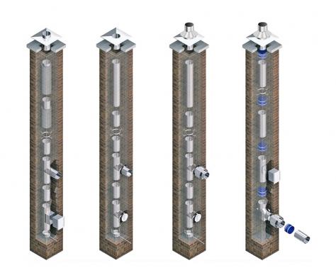 A) Vložkování komínu na tuhá paliva spřidanou izolací B) Vložkování komínu pro tuhá ikapalná paliva sodvodem kondenzátu C) Vložkování pro tuhá ikapalná paliva pro uzavřené spotřebiče spřívodem vzduchu komínem D) Vložkování komínu pro kondenzační kotle sgumovým těsněním (EKO KOMÍNY).
