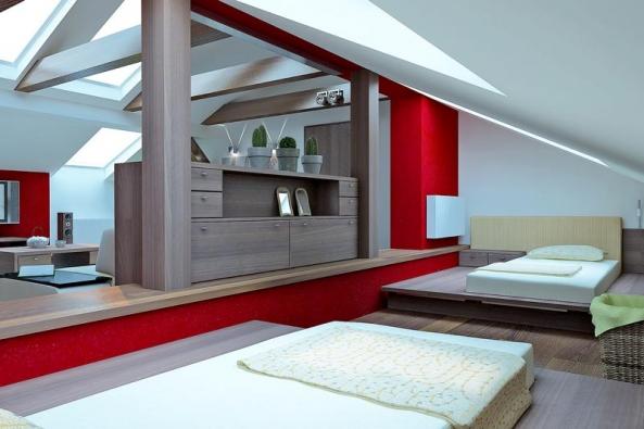 Postele vyráběné pro podkrovní ložnice jsou vždy náročnější na promyšlení všech detailů, úložnými prostory počínaje apohodlným vstáváním auléháním konče (ALNUS).