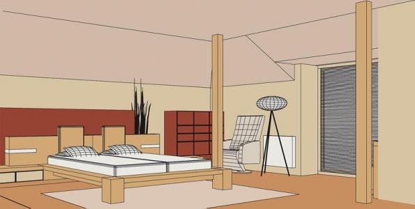 Zařizování podkrovní ložnice by měl předcházet kvalitní návrh interiéru využívající veškeré možnosti, které atypický prostor podkroví nabízí (ALNUS).