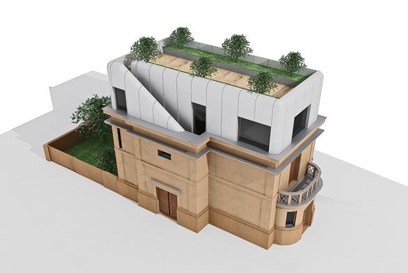 """Barevné řešení stávající části domu je navrženo vodstínech šedé aokrové, sokl je probarven tmavým odstínem a""""pokračuje"""" betonovým oplocením pozemku ve stejné výšce astejném barevném odstínu."""