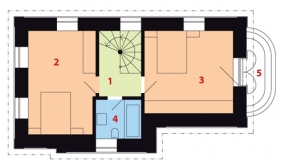Půdorys II. nadzemního podlaží: 1) schodiště 2, 3) ložnice 4) koupelna + WC 5) balkon.