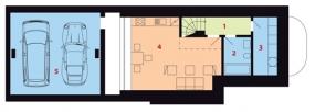 Půdorys podzemního podlaží: 1) chodba 2) koupelna + WC 3) technická místnost 4) ateliér 5) garáž.