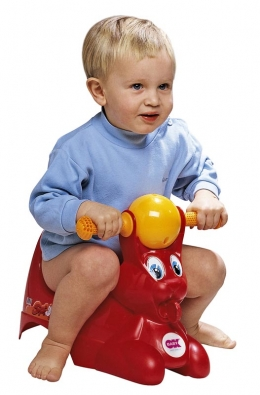 Oblíbený nočník vpodobě zajíčka. Otočná barevná koule mezi ušima chrastí aupoutává pozornost dítěte (VSEPROMIMI.CZ).