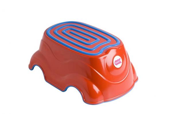 Praktická víceúčelová stolička-stupátko sprotiskluzným povrchem pomůže předškolním dětem překonat výškový rozdíl adosáhnout tak na dospělácké umyvadlo např. při čištění zubů (OK BABY).