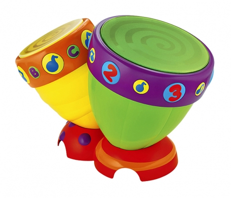 Bonga – hudební nástroj vzářivých barvách spevnou základnou, motivy písmenek anot je vyroben zodolného, snadno udržovatelného materiálu (BABYWELT.CZ).