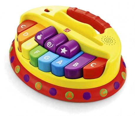 Dětské piánko má osm kláves hrajících ve stupnici C. Je dobře přenosné díky silnému aširokému madlu aobsahuje drážku pro držení notových stránek (BABYWELT.CZ).