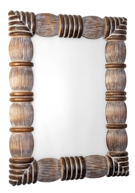 Obdélníkové zrcadlo smasivním dřevěným rámem spatinou, tropické dřevo durian. Výška 81cm. Cena 1489Kč (IN ART).
