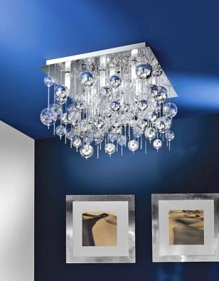 Stropní svítidlo Morfeo, chrom + sklo, koupíte za 13603Kč (EGLO).