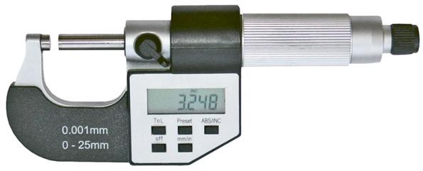 Digitální mikrometr pro velmi přesné měření délek aprůměrů do 25mm zaručuje přesnost na tři desetinná místa, tedy na tisíciny mm (SOMET).
