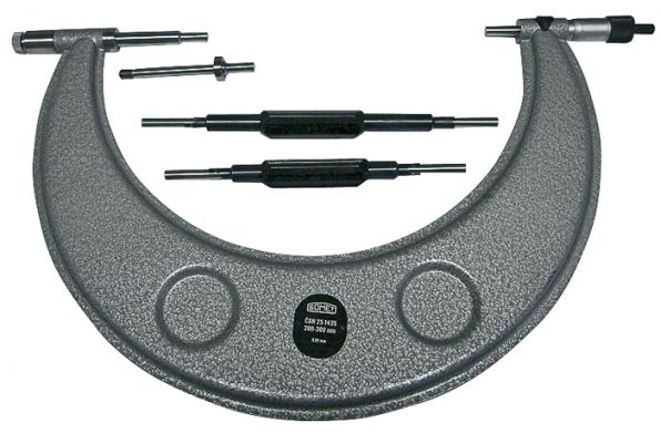 Třmenový analogový mikrometr orozsahu 200 až 300mm apřesnosti měření 0,1mm (SOMET).