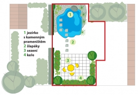 Obývací pokoj: Sezení obklopují kvetoucí keře  aokrasné dřeviny. Přes rybníček  srozkvetlými vodními rostlinami atravinami vede chodníček zpřírodního kamene.