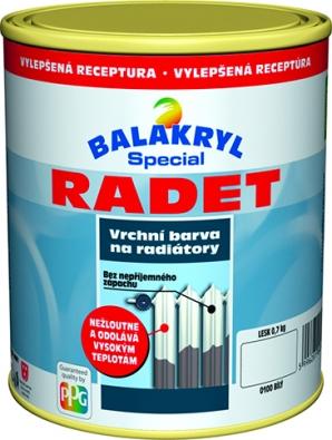 Balakryl RADET je barva natělesa teplovodního topení svýbornou odolností proti vysoké teplotě. Nátěr realizovaný barvou Balakryl Radet nežloutne ani podelší době (www.balakryl.cz).