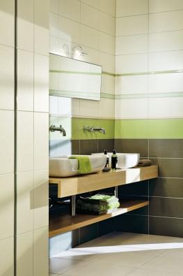 Jemné barvy série Vanity nechají vyniknout kontrastu reliéfního lesklého povrchu smatným základem (RAKO).