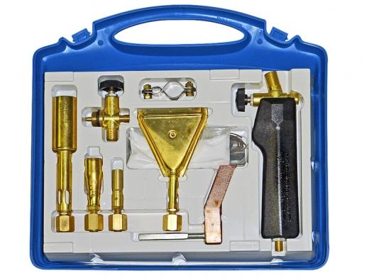 Propan-butanová pájecí aopalovací souprava je určena pro měkké pájení cínem či pájení natvrdo drobných předmětů. Tato souprava se připojuje pomocí ventilu ahadice k2kg propan-butanové láhvi (MEVA).