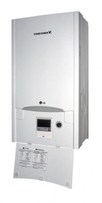 Tepelné čerpadlo LG Therma V.  Vpopředí dole je displej, kde se nastavují azobrazují požadovené hodnoty.