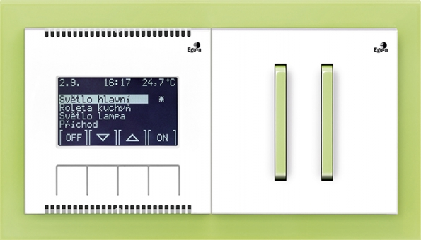 Dvojspínač NEO vzeleném provedení adigitální termostat pro řízení vytápění ichlazení vjednotlivých místnostech.