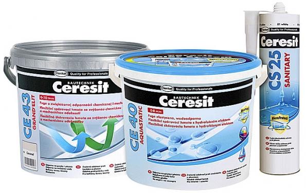 Popsané výhody najdete uspárovacích hmot Ceresit CE 40 aCeresit CE 43 Grand´Elit.